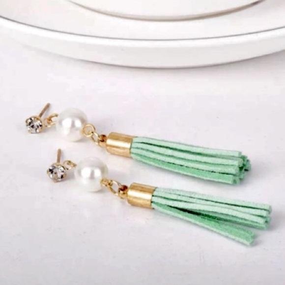Diamonelle & Pearl Green Tassel Earrings
